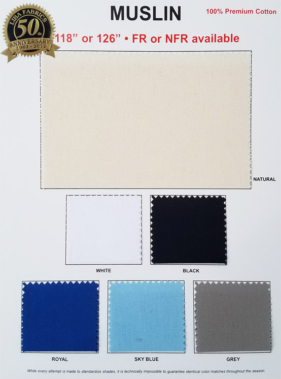 Muslin - 100% Premium Cotton colorcard